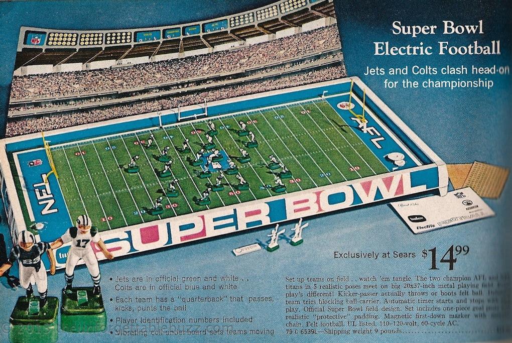 electric football nfl afl super bowl iii 1969 tudor norman sas unforgettable buzz - Football Games On Christmas