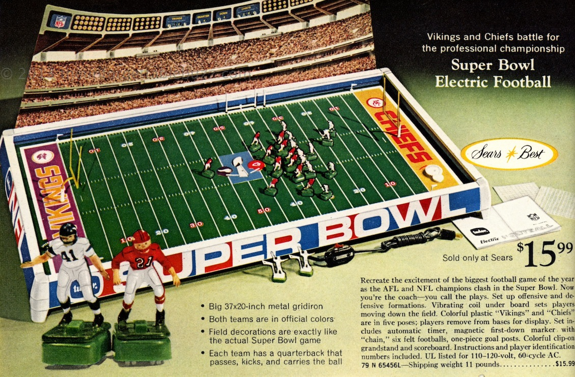 electric football super bowl iv tudor nfl afl vikings chiefs - Super Bowl Trophy Coloring Pages