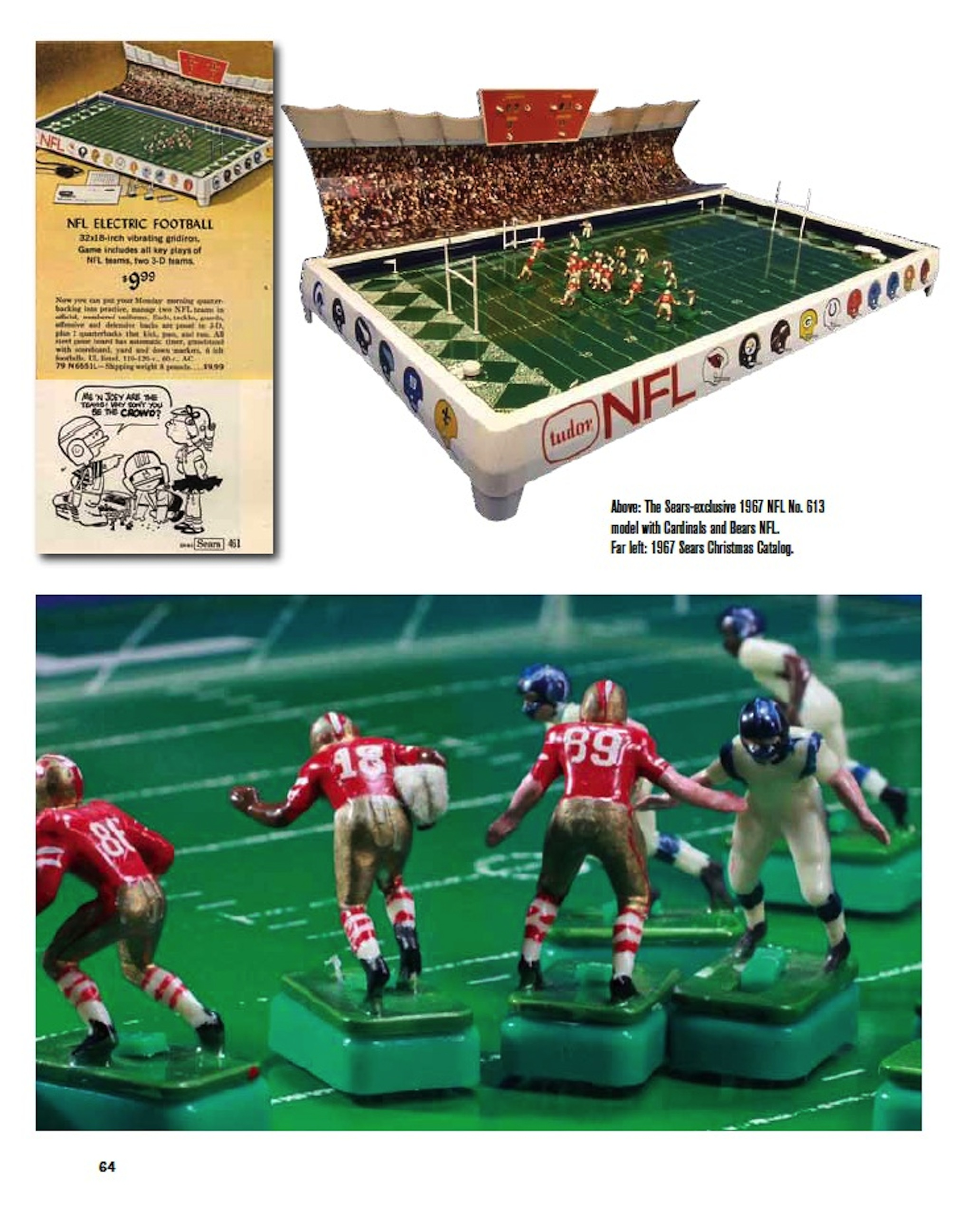 full color electric football book page 64 nfl sears no 613 game bears cardinals - Nfl Christmas Games
