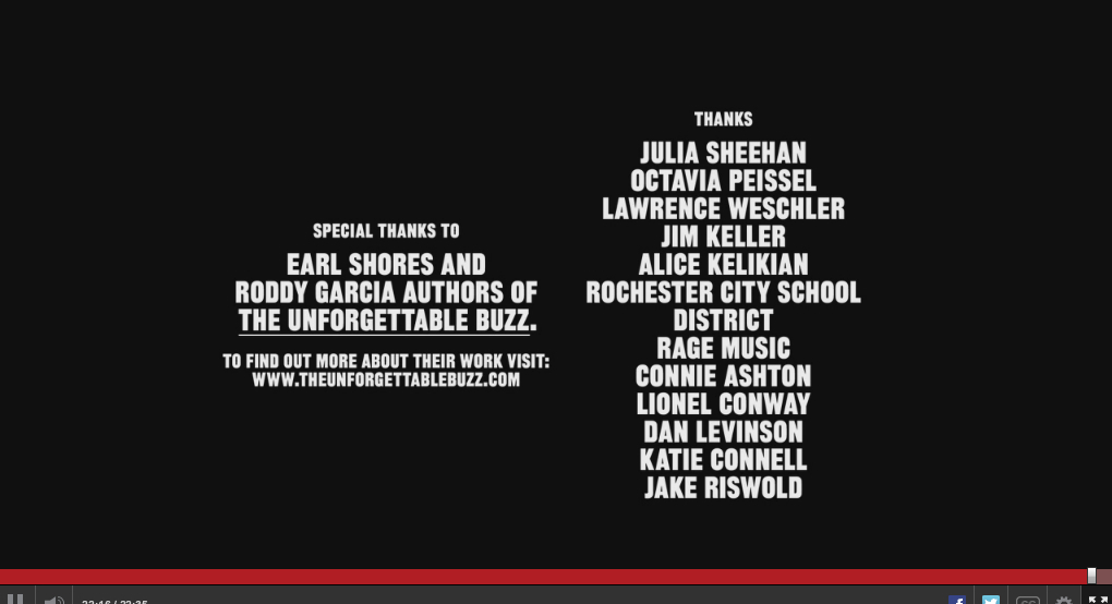 Credit for The Unforgettable Buzz at the end of the ESPN documentary.