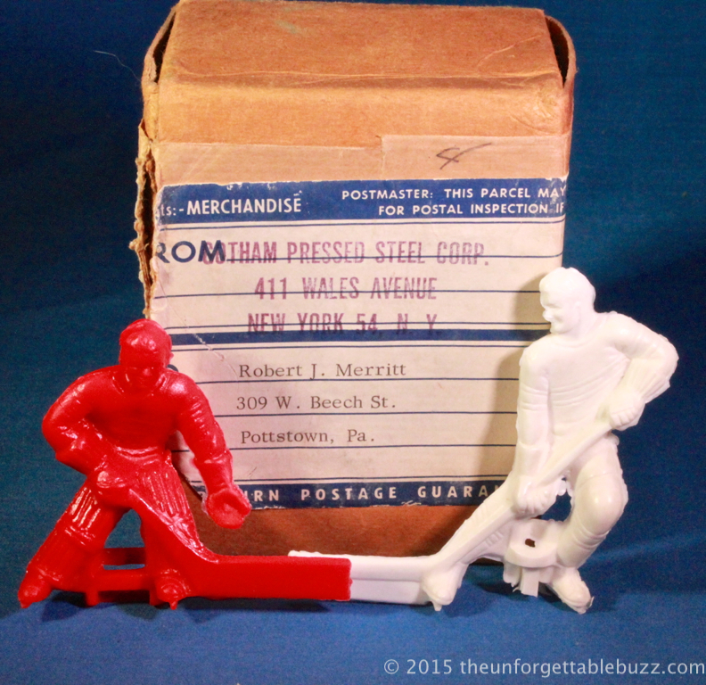 A Gotham shipping box with 3-d hockey players