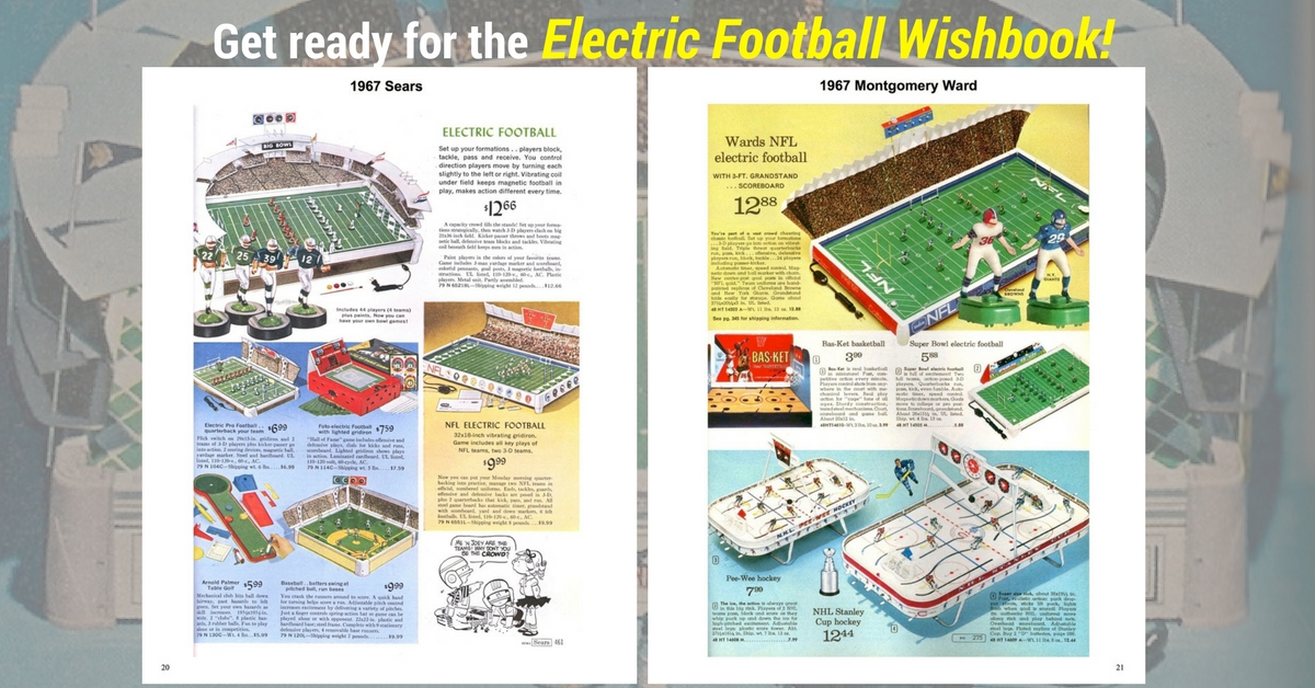 "<img alt=""1967 two page spread from the Electric Football Wishbook"">"